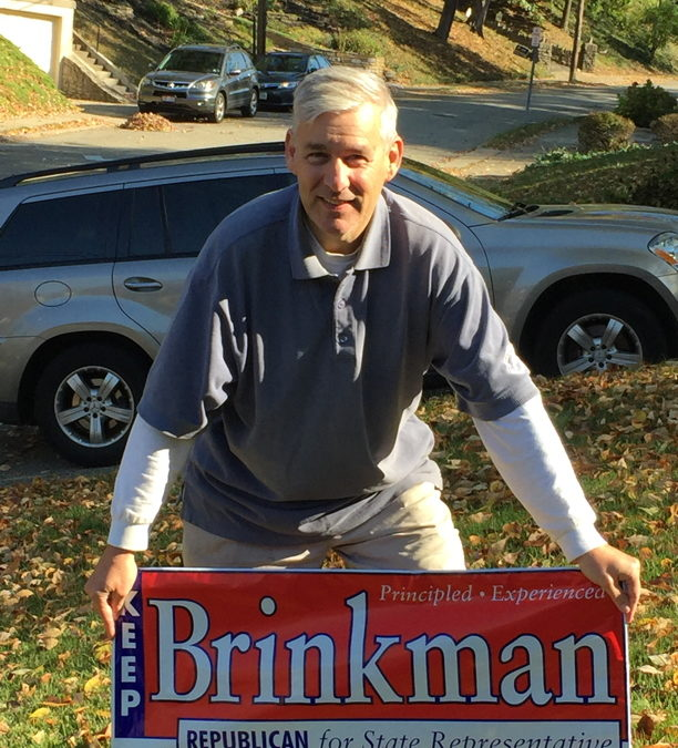 brinkman with yard sign
